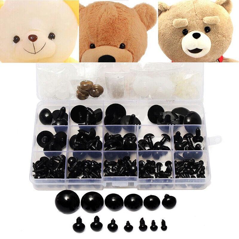 154 Pcs 6-24mm Black Plastic Safety Eyes For Teddy Bear Doll
