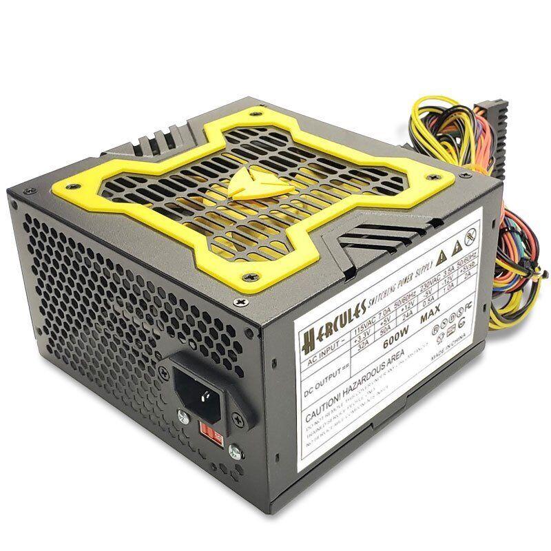 NEW--Hercules Yellow 12cm-Fan 600w-Max ATX Power Supply 20+4Pin, SATA & PCIe