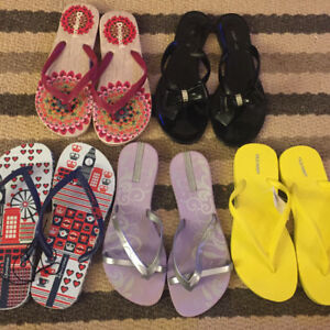 7 pairs of flip flops. All new.