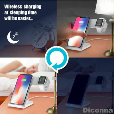 2in1 Wireless Charger Fast Charging Dock Stand Station For Apple Watch iPhone 11