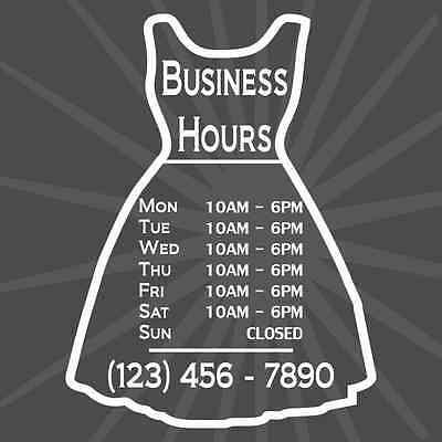 Custom Business Dress Store Hours Vinyl Window Decal 9x12 Sticker Sign Fashion