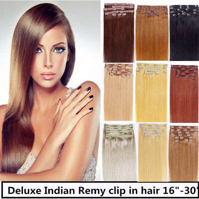 USA STOCK !Full Head 26 inch Indian Remy Human Hair Clip In Extensions