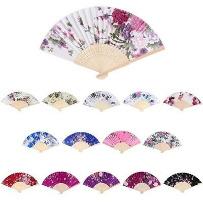 - Chinese Bamboo Folding Hand Held Fan Flower Floral Wedding Dance Party Decor
