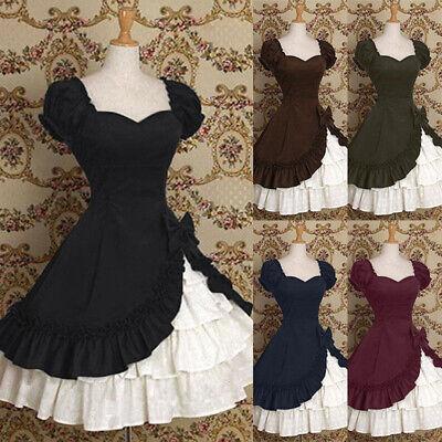 Mittelalter Damen Lolita Mädchen Rüsche Kurze Ärmel Prinzessin Kleid Kostüm ()