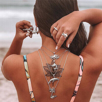 Boho Multilayer Mermaid Tail Pendant Necklace Beach Spider Whale Shark Jewelry