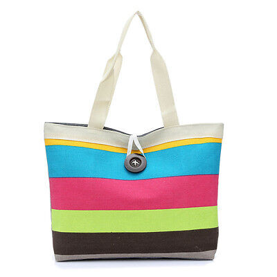 Lady Colored stripes Shopping Handbag Shoulder Canvas Bag Tote Purse Travel Bag
