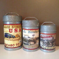 """""""ROUTE 66"""" 3-PC Canister Set"""