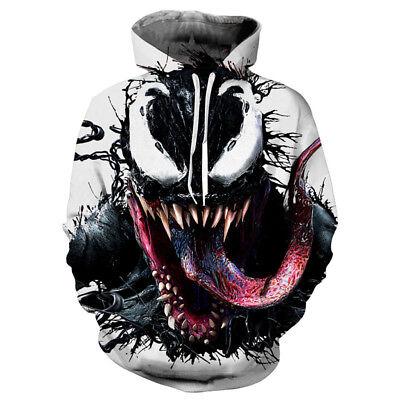 New Movie Venom 3D Printing Hoodie Sweatshirt Cosplay Coat Jacket Costume