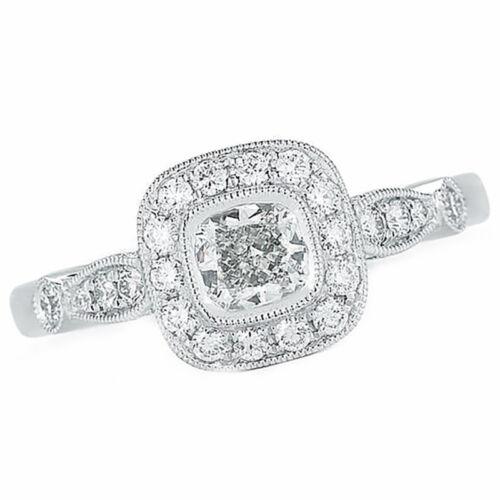 1 carat Cushion Cut GIA Certified Diamond Engagement Halo Style Ring 18k Whit... 1