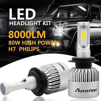 2x PHILIPS 80W 8000LM COB H7 Plug LED Headlight Kit  Low Beam Power Bulbs 6500K