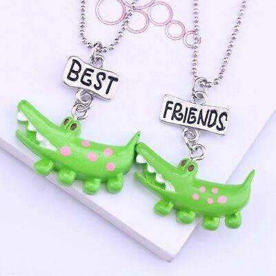 2PCs Kids Best Friends Necklace For Children Cartoon Crocodile Pendant (2 Best Friends Cartoon)