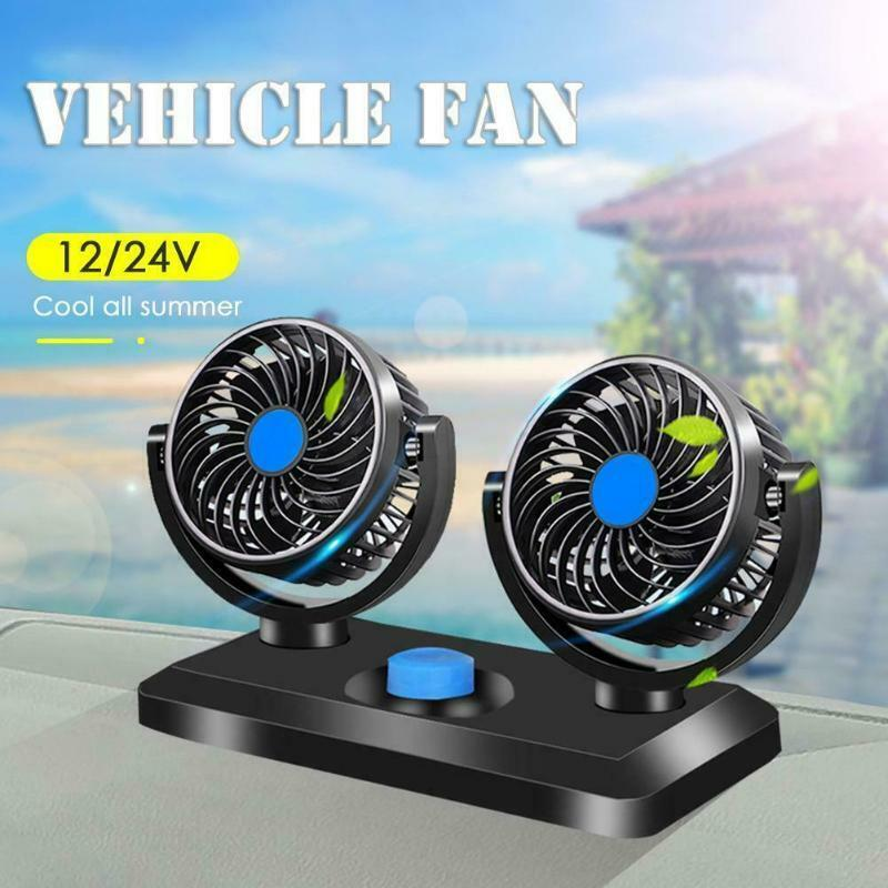 12V//24V Dual Head Car Fan Rotating Oscillating Dashboard Ventilation Air