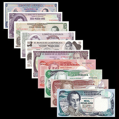 Colombia Set 10 PCS, 1 2 5 10 20 50 100 200 500 1000 Pesos, UNC