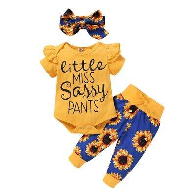 3PCS Newborn Baby Girl Clothes Romper Bodysuit Tops Shorts H