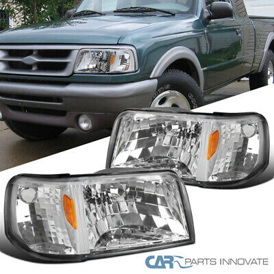 For 93-97 Ford Ranger Clear Lens Headlights+Corner Turn Signal Lamps -