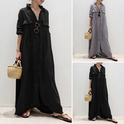 Women Oversized Loose Solid Long Maxi Dress Buttons Baggy Muslim Kaftan Abaya