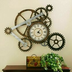 Farmhouse Wall Decor Clock Large Mantle Rustic Country Industrial Steampunk New