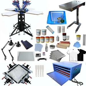 Full Set 4 Color 4 Station Screen Printing Kit with All Screen Printing Machine 006996
