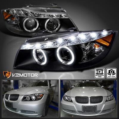 Black 2006-2008 BMW E90 323I 335I 3 Series LED Projector Headlights Left+Right