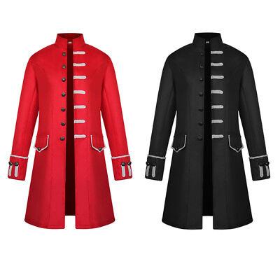 Medieval Single - Men Single Breasted Long Jacket Blazer Gothic Steampunk Retro Medieval Wear Coat