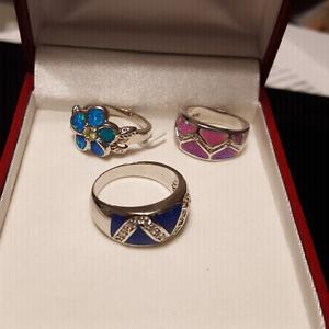 3 Fire Opal Rings