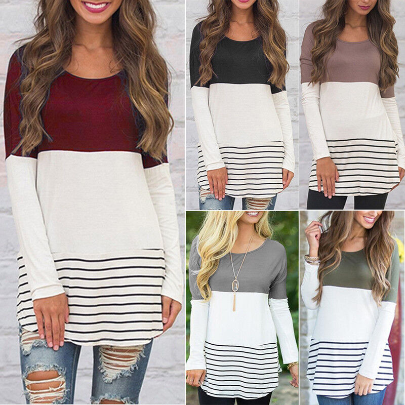 Women Color Block Striped Long Sleeve Ladies O Neck Tunic Pl
