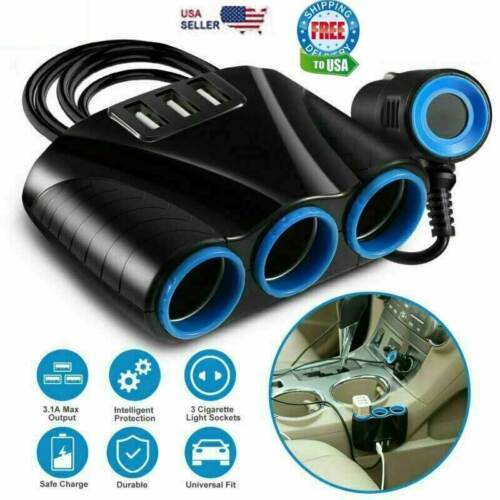 Cigarette Lighter Socket 3 USB Charger Splitter 12V Outlet Power Adapter Car NEW