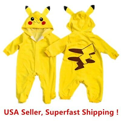 Pokemon Go Toddlers Infant Baby Boy Girls Coat Pikachu Outfit Jumpsuit Romper