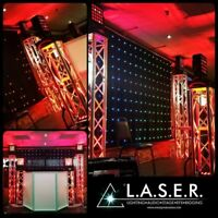 Uplighting, Stages,Truss, Dryice, gobos, Marquee letters, Efx