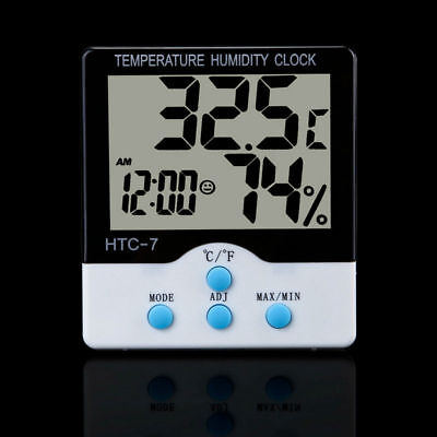 LCD Digital Indoor Temperature Humidity Clock HTC-7 Thermometer Hydrometer Meter