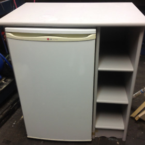 Mini fridge and cabinet