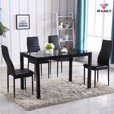 5 Piece Dining Table Set 4 Chairs Glass Metal Kitchen Room Breakfast Furniture