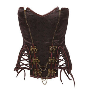 Steampunk Goth Corset XS Small brown sexy top