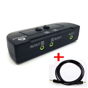 2PORT 3.5mm STEREO Switch Box Audio Speaker Headphone selector+AUX cable(1m/3ft)
