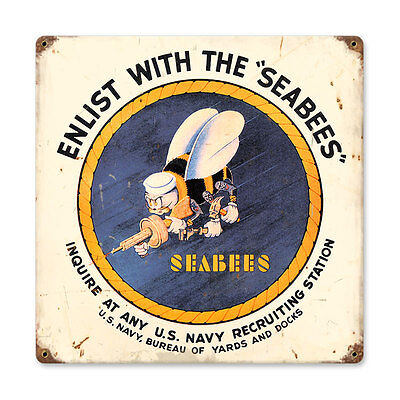 "Vintage Style Retro WWII Era Navy Seabees Enlistment Steel Metal Sign 12"" x 12"""