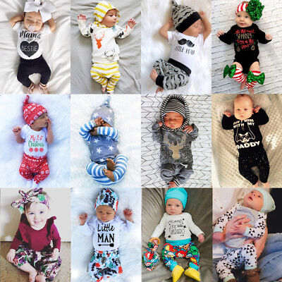 USA Christmas Newborn Baby Boys Girls Floral Romper T-shirt Pants Outfit Clothes - Christmas Outfit Boys