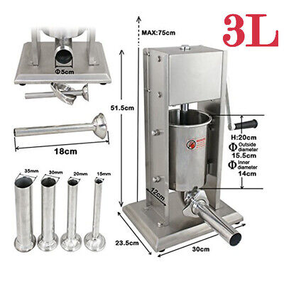 3l Manual Vertical Sausage Stuffer Stainless Steel Meat Filler Brand New