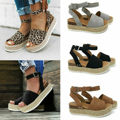 Women's Ankle Strap Flatform Wedges Shoes Adjustable Summer
