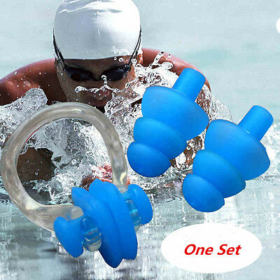 Durable Blue Soft Silicone Swimming Set Nose Clip+Ear Plug Earplug For Women Men