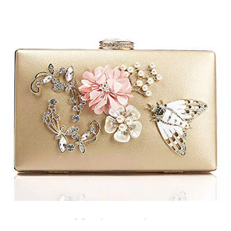 Lady Handbag Flower Clutch Evening Bag Chain with Pearls Bea