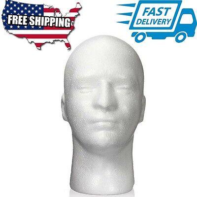 Male Men White Styrofoam Foam Mannequin Manikin Head Stand Hat Headphones Wig