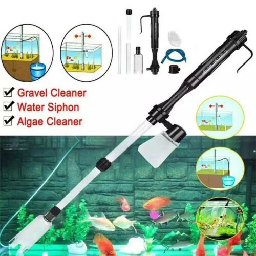 Electric Aquarium Fish Tank Siphon Pump Vacuum Gravel Water Filter Cleaner Pipe