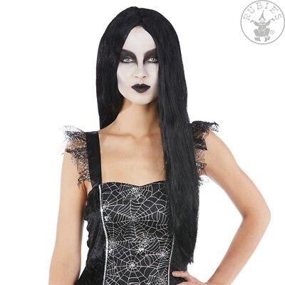 Lange Schwarze Haare, Perücke Halloween (Hexen Perücke Damen, Vampir Gothic Halloween,SCHWARZ, Langhaar glatt 61 cm)