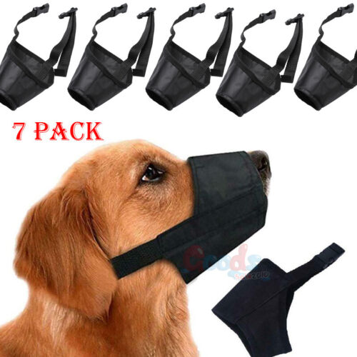 7pack pet adjustable dog muzzle fabric nylon