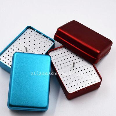120 Holes Dental Aluminum Burs Holder Stand Disinfection Box Endo Accessories