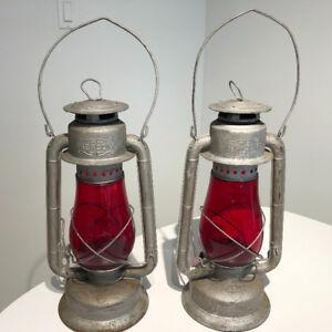 Vintage Beacon Red Globe Lanterns