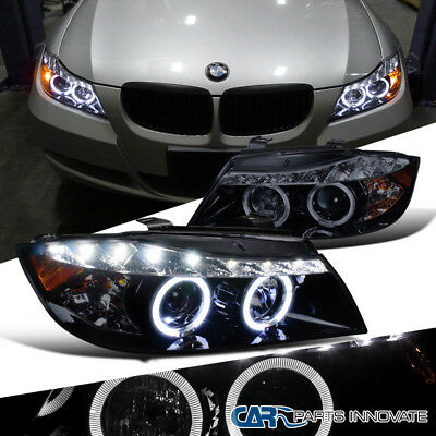 New!! Glossy Black 06-08 BMW E90 3-Series 4Dr Smoke LED Halo Projector Headlight