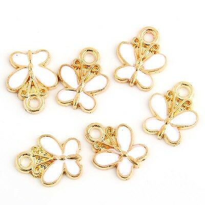10pcs butterfly-Shaped Beads Charms Enamel Pendant Fit DIY Bracelet Jewelry