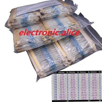 2x 1280pcs 14w 64 Values 1r- 10m Ohm Metal Film Resistors Assortment Kit 1