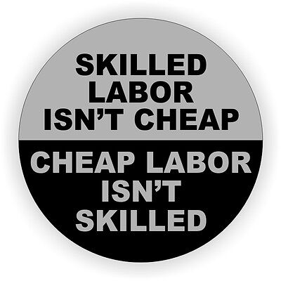 Skilled Labor Hard Hat Sticker Helmet Decal Label Funny Union Laborer Usa -gry